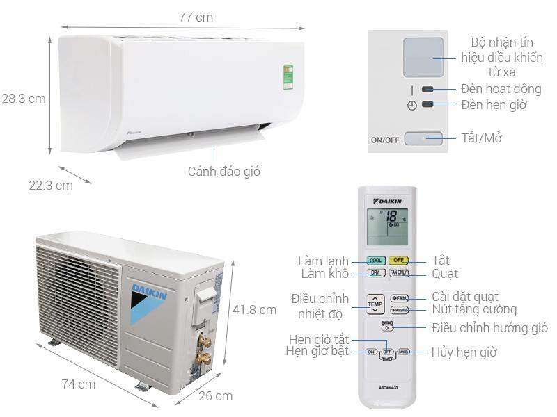 Thông số kỹ thuật điều hòa Daikin FTF25UV1V