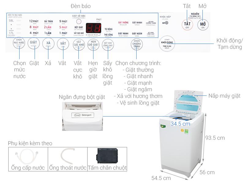 thông số Máy giặt Toshiba lồng đứng 8.2kg AW-F920LV (WB)