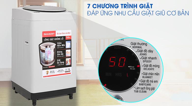 may-giat-long-dung-sharp-9kg-ES-W90PV-H-7-chuong-trinh-giat